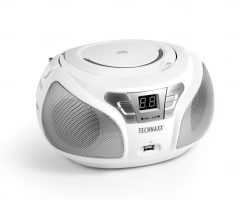 Technaxx Boombox CD přehrávač, Bluetooth, FM, AUX-IN & USB, bílý (BT-X38)